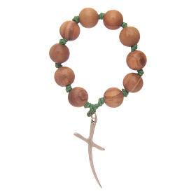 Single decade rosary in olive wood with cross s2