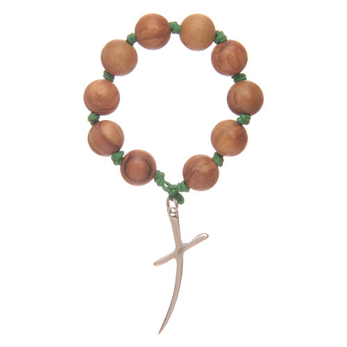Single decade rosary in olive wood with cross 1