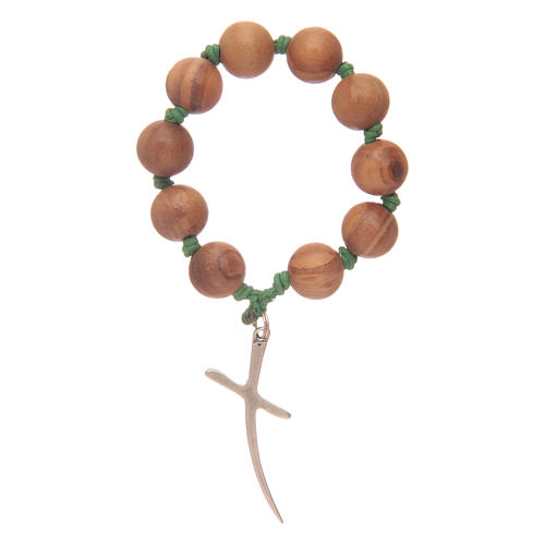Single decade rosary in olive wood with cross 2