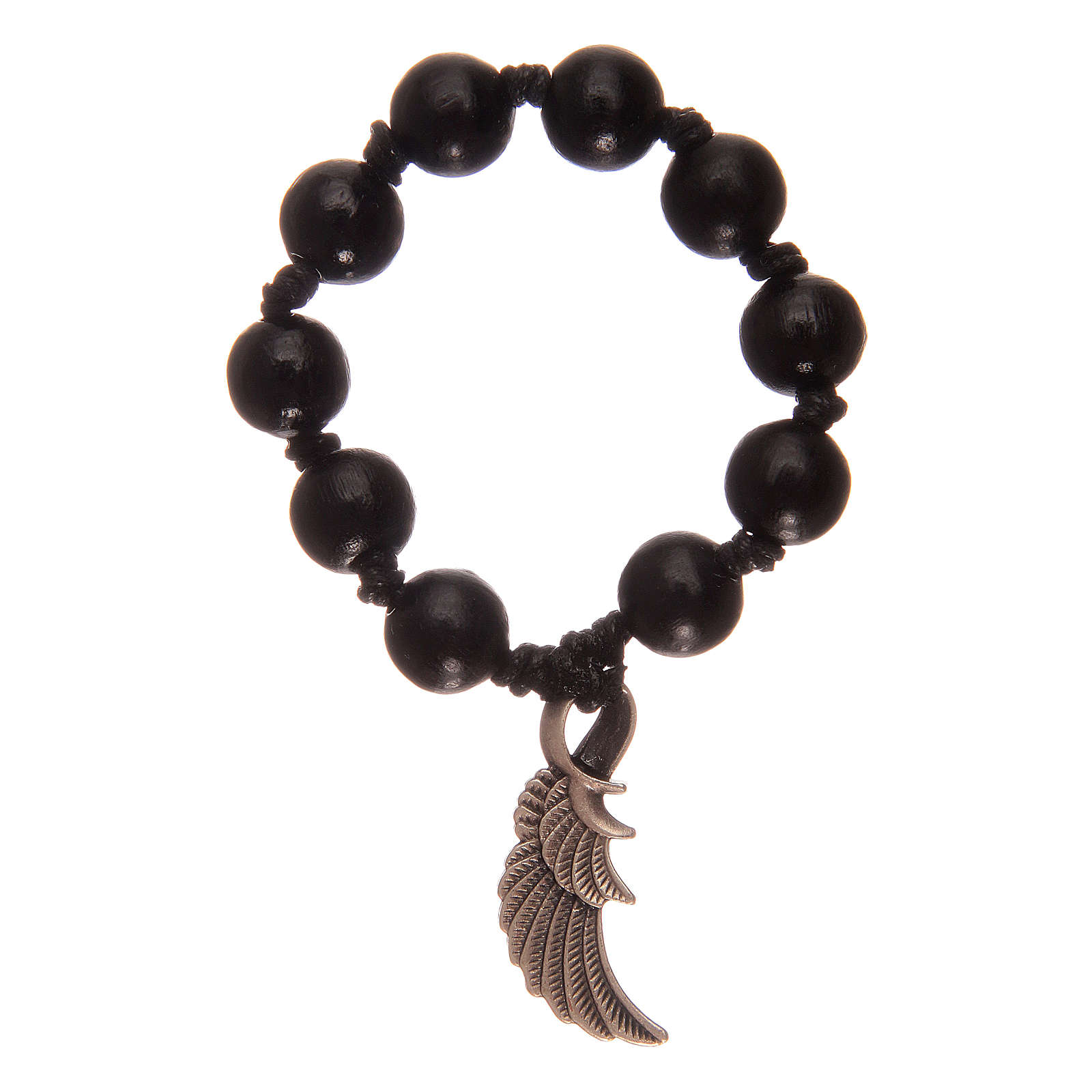 Single decade rosary with black wooden grains and angel's wing 4