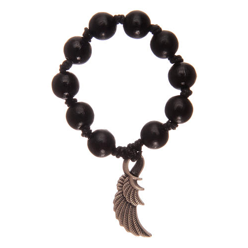 Single decade rosary with black wooden grains and angel's wing 1