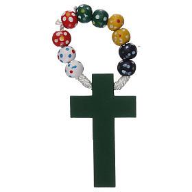 Rosario decena madera engarce seda diámetro mm 7 misionero floral s2