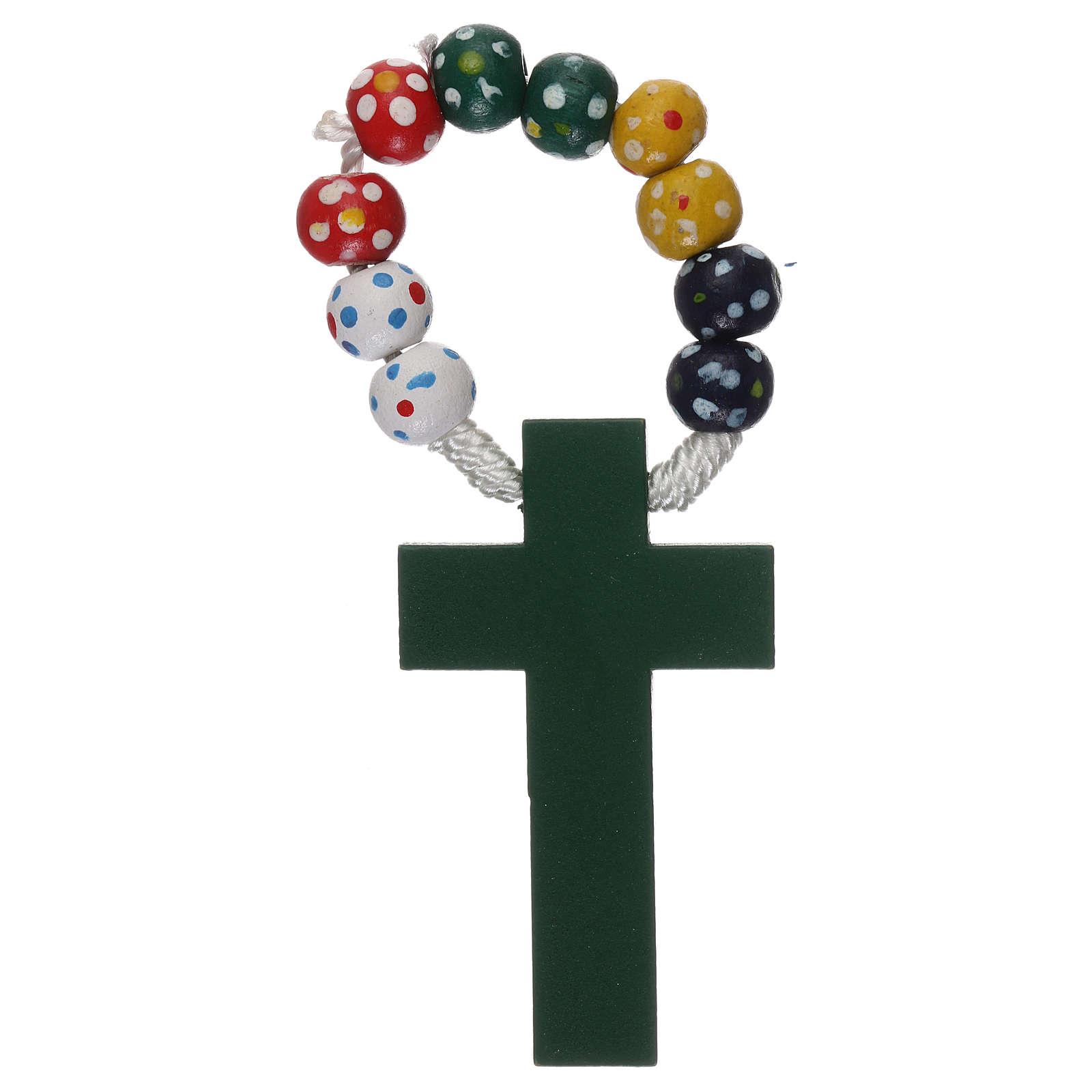 Rosario decina legno legatura seta diametro mm 7 missionario floreale 4