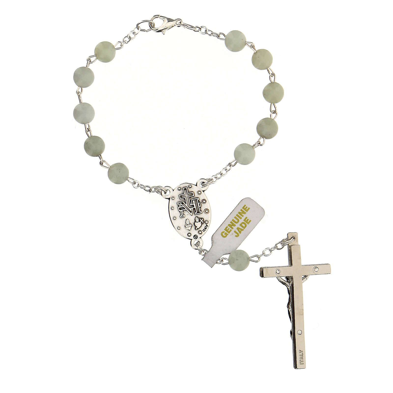 Single decade rosary with Jade beads 6 mm and cross 4