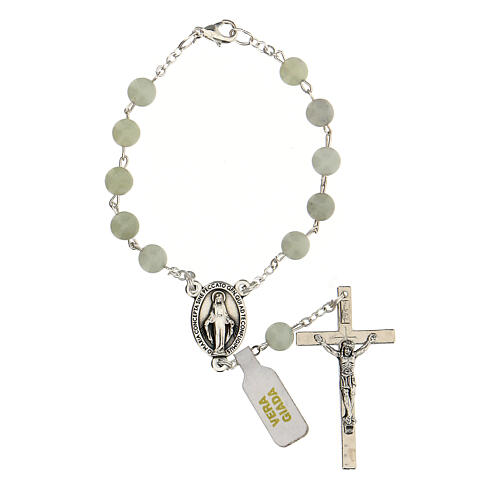 Single decade rosary with Jade beads 6 mm and cross 1