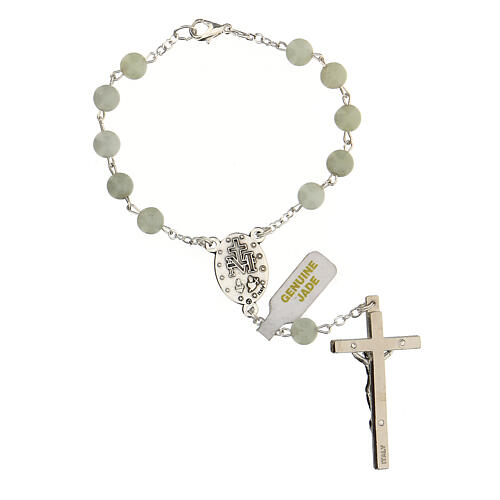 Single decade rosary with Jade beads 6 mm and cross 2