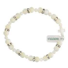 Pulsera decena de verdadera piedra nácar color blanco granos 7x7 mm s1