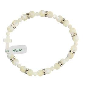 Bracelet dizainier en nacre blanche grains 7x7 mm s2