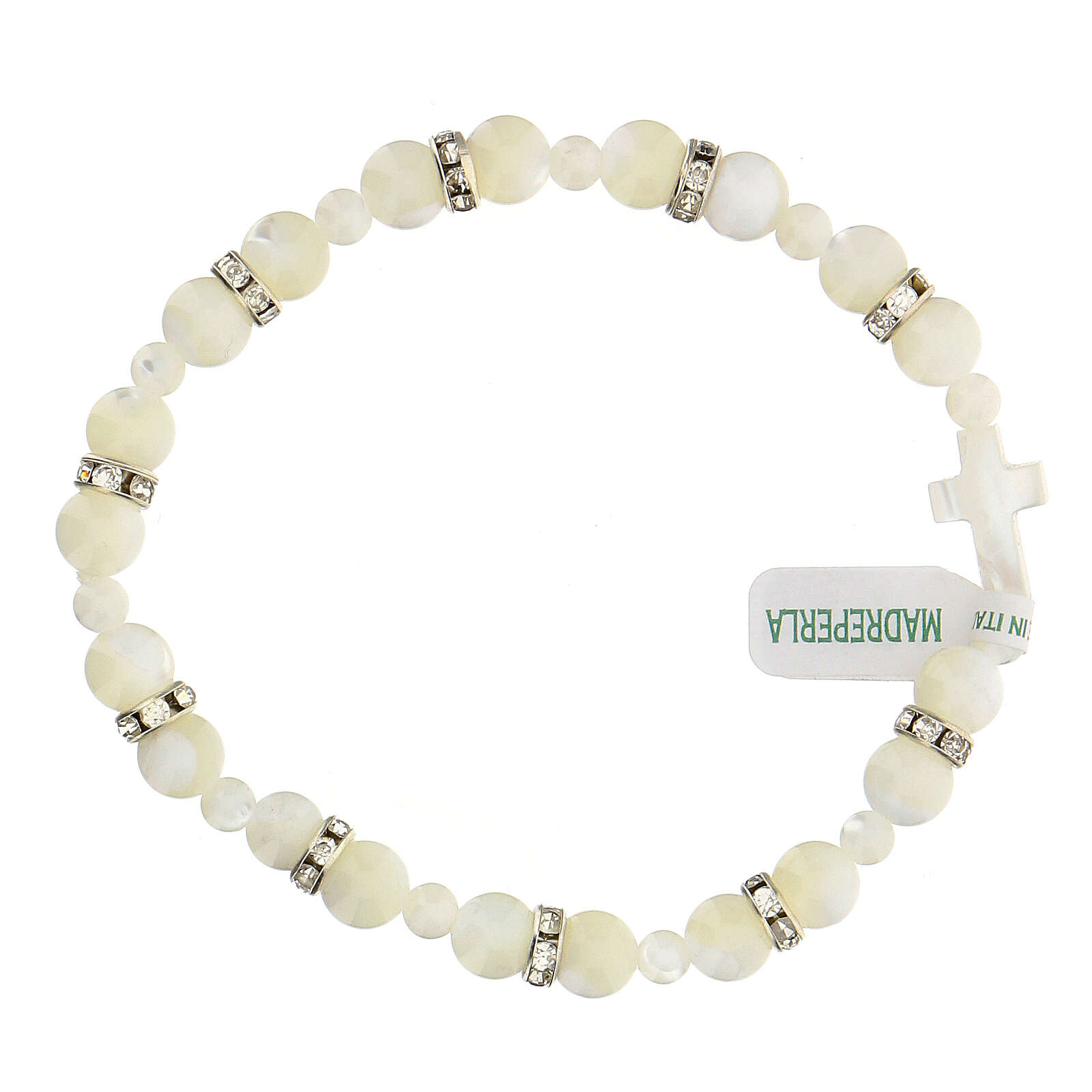 Decade rosary in real white mother of pearl beads 7x7 mm 4