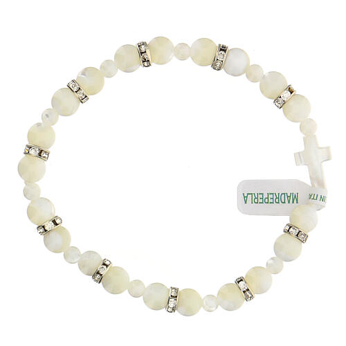 Decade rosary in real white mother of pearl beads 7x7 mm 1