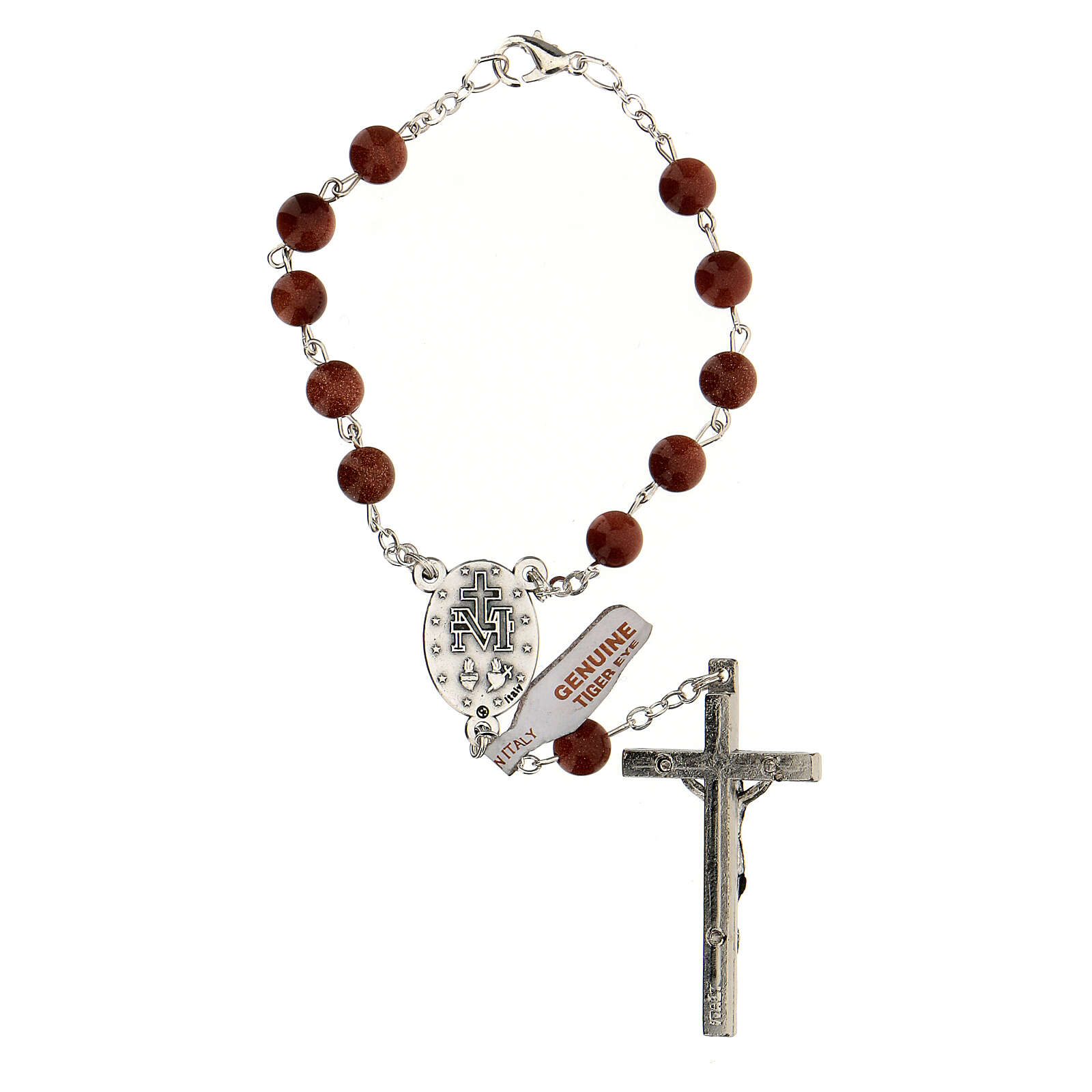One decade rosary in sun stone 6 mm beads with cross 4