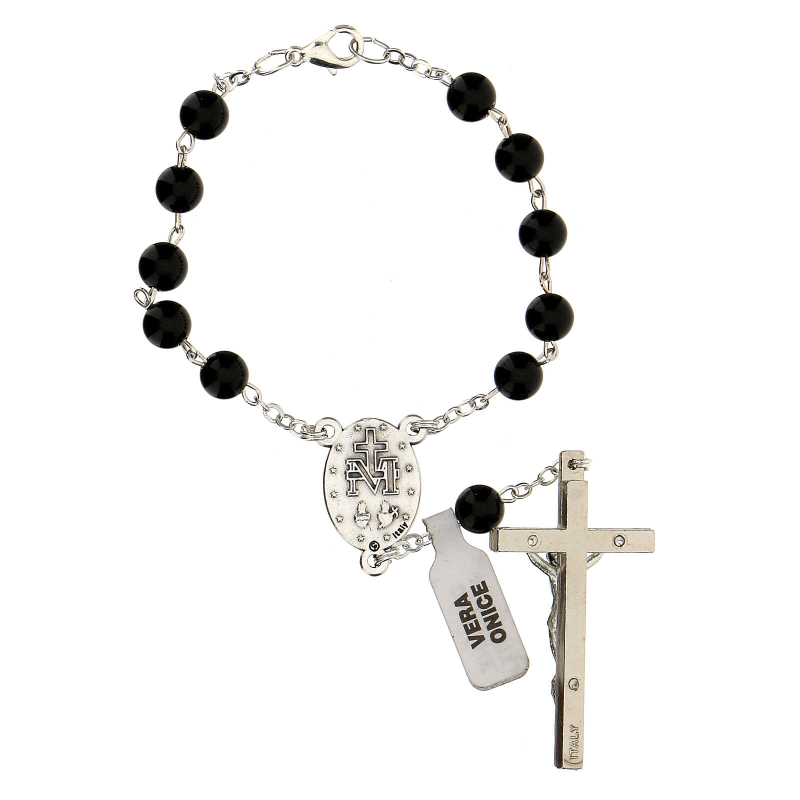 Single decade rosary in onyx 6 mm with cross and medal 4