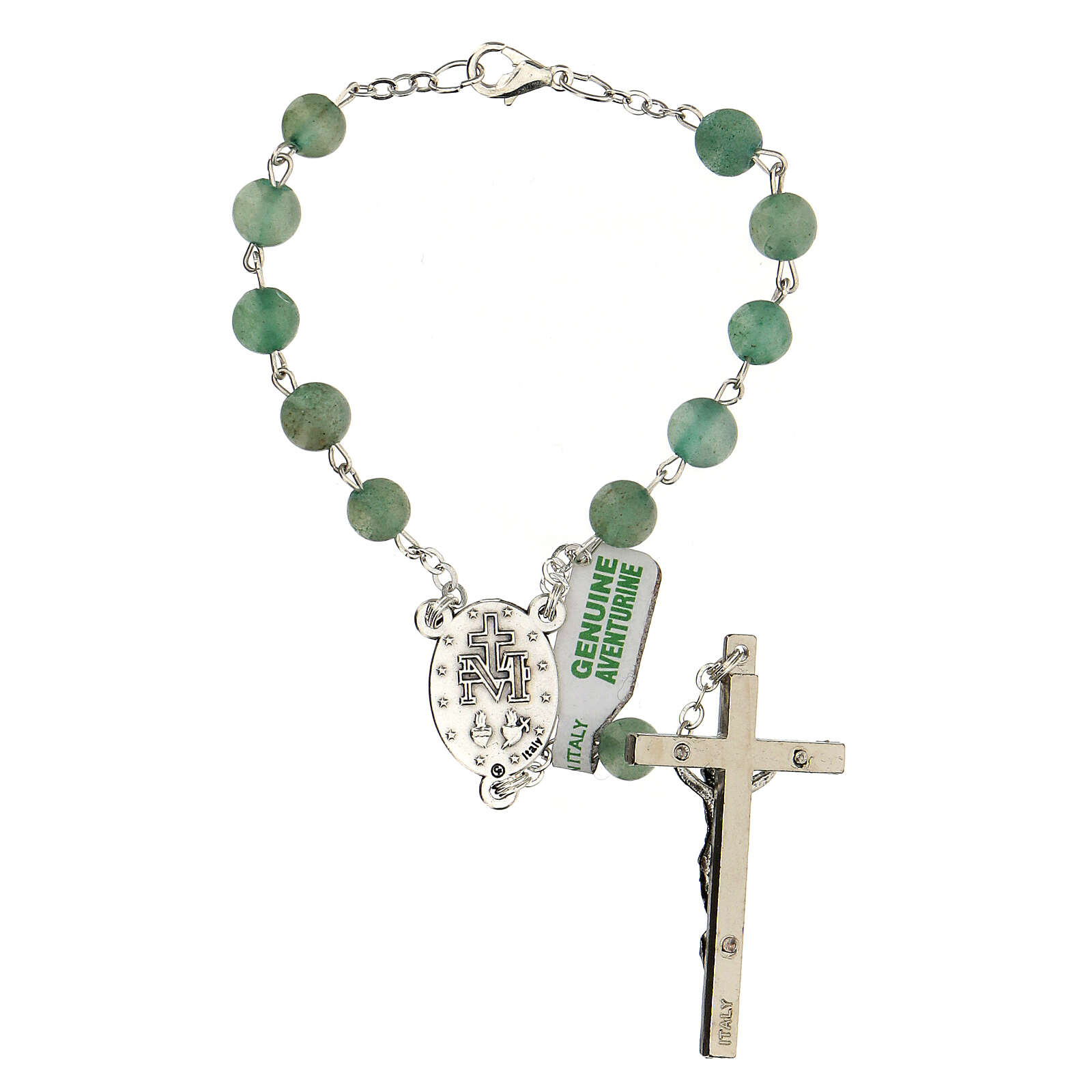 Decade auto rosary in real aventurine 6mm with Mary medal 4