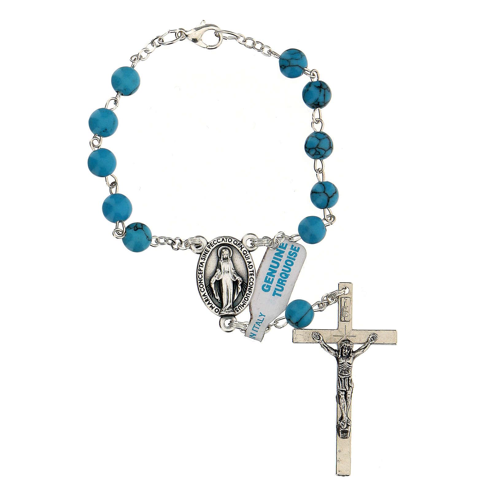 Rosario decina grani vera pietra turchese 6 mm crociera Madonna Miracolosa 4