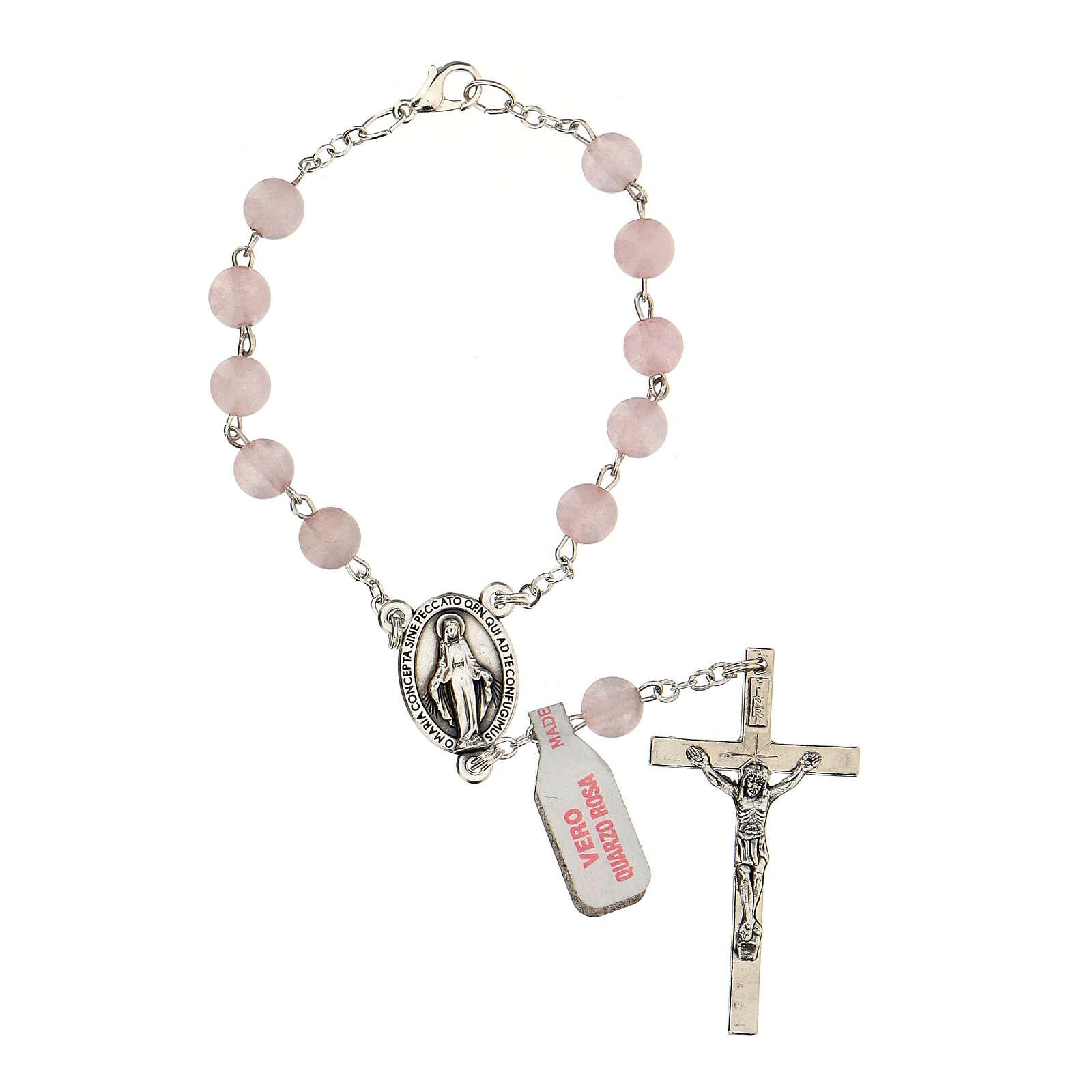 Rosario decina in vera pietra quarzo rosa tondi 6 mm 4