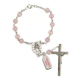 Rosario decina in vera pietra quarzo rosa tondi 6 mm s2