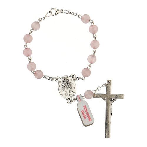 Rosario decina in vera pietra quarzo rosa tondi 6 mm 2