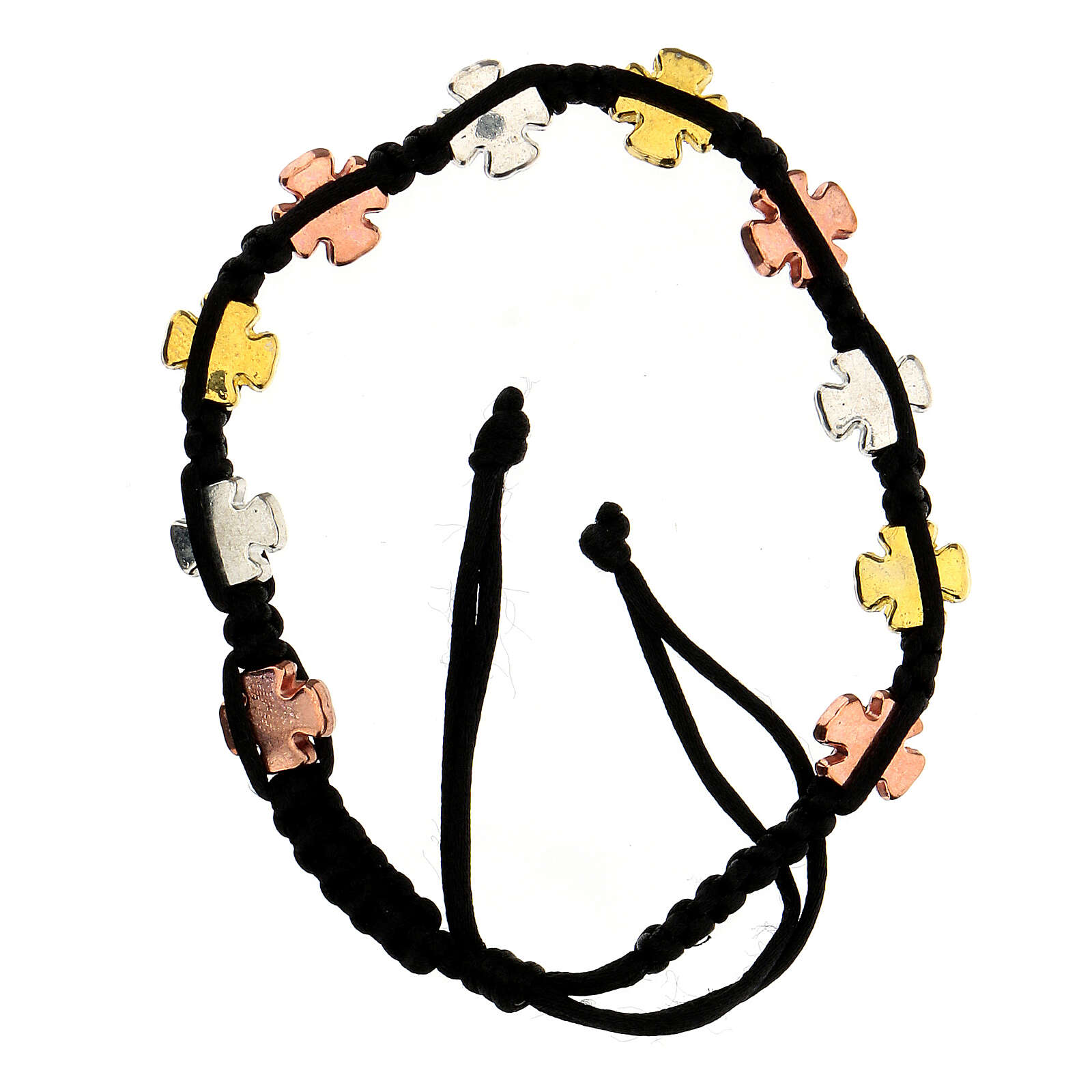 Decade rosary bracelet with adjustable black cord tricolor cross charms 4