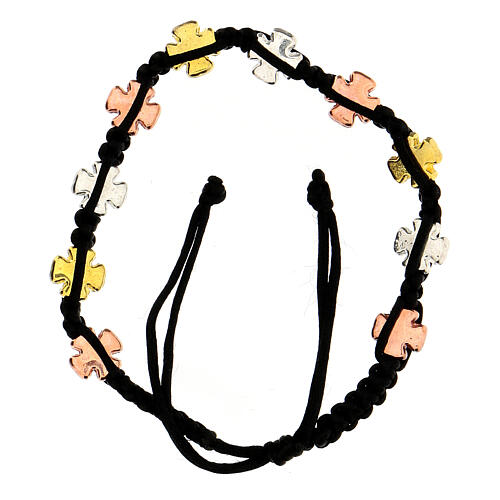 Decade rosary bracelet with adjustable black cord tricolor cross charms 2