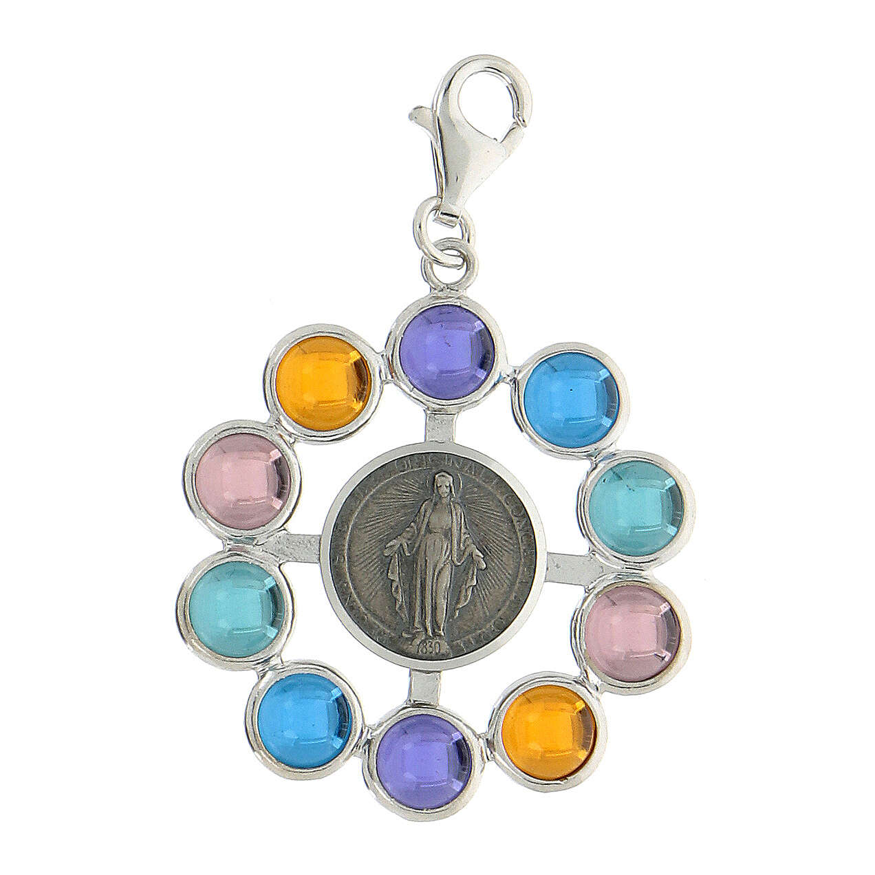 Colgante rosario granos 6 mm siamite multicolor plata 925 4