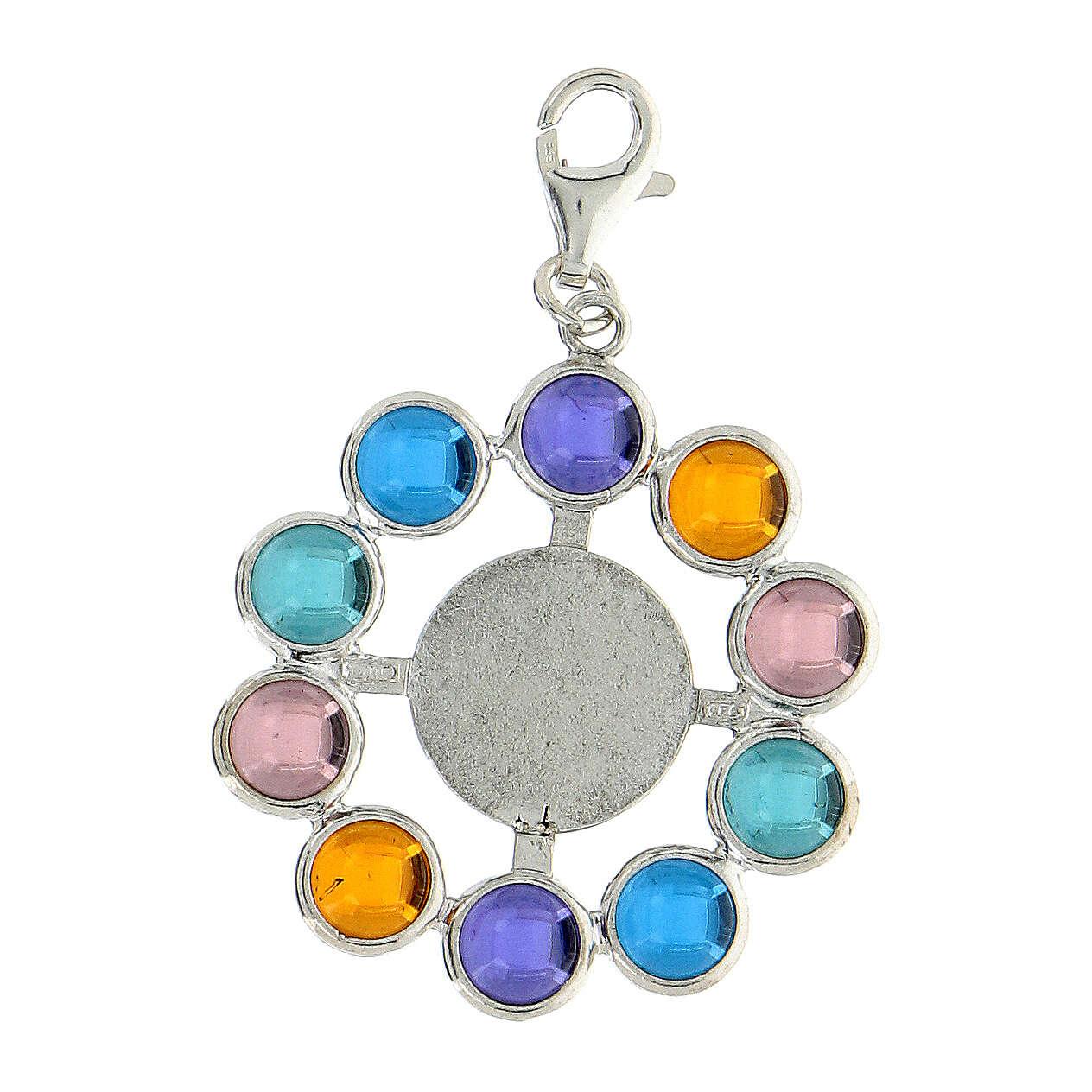 Pendentif chapelet grains 6 mm siamite multicolore argent 925 4