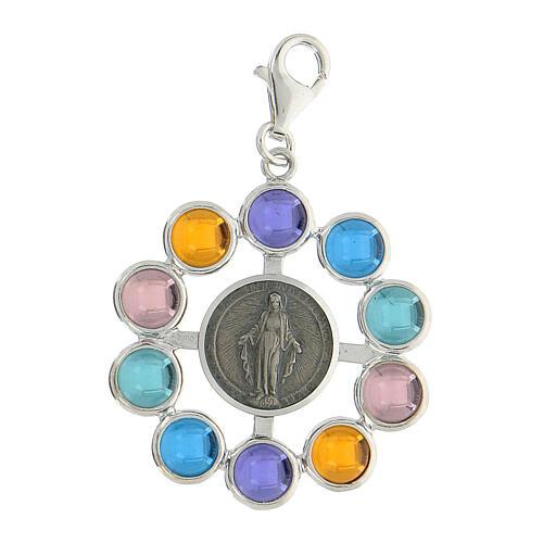 Pendentif chapelet grains 6 mm siamite multicolore argent 925 1