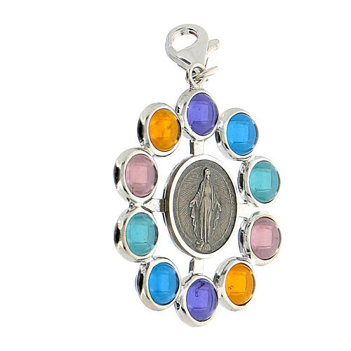 Pendentif chapelet grains 6 mm siamite multicolore argent 925 2