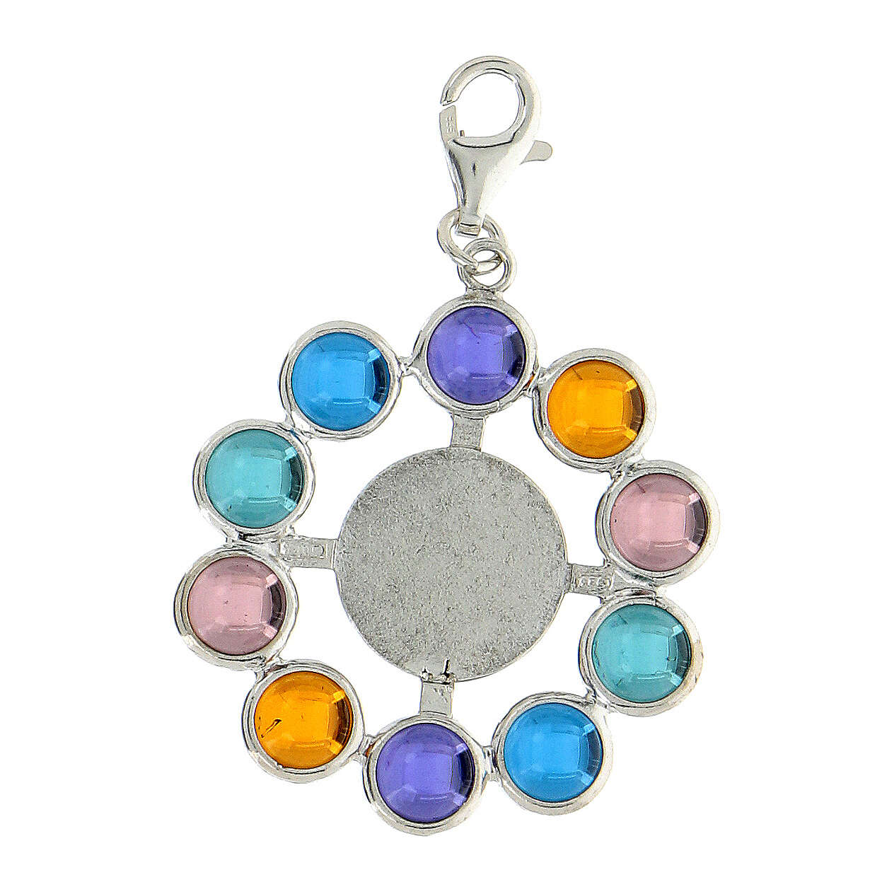 Pingente terço contas 6 mm pedra Siamite multicolorida prata 925 4