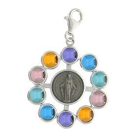 Pingente terço contas 6 mm pedra Siamite multicolorida prata 925 s1