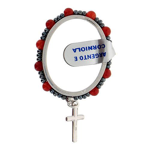 Anillo giratorio decena plata 925 granos cornalina 4 mm 2