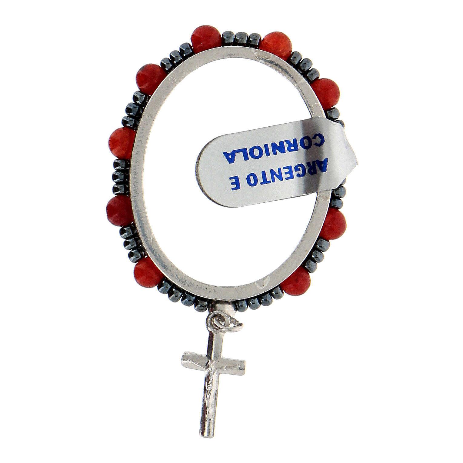 Preghierino girevole decina argento 925 grani corniola 4 mm 4