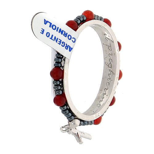 Preghierino girevole decina argento 925 grani corniola 4 mm 3