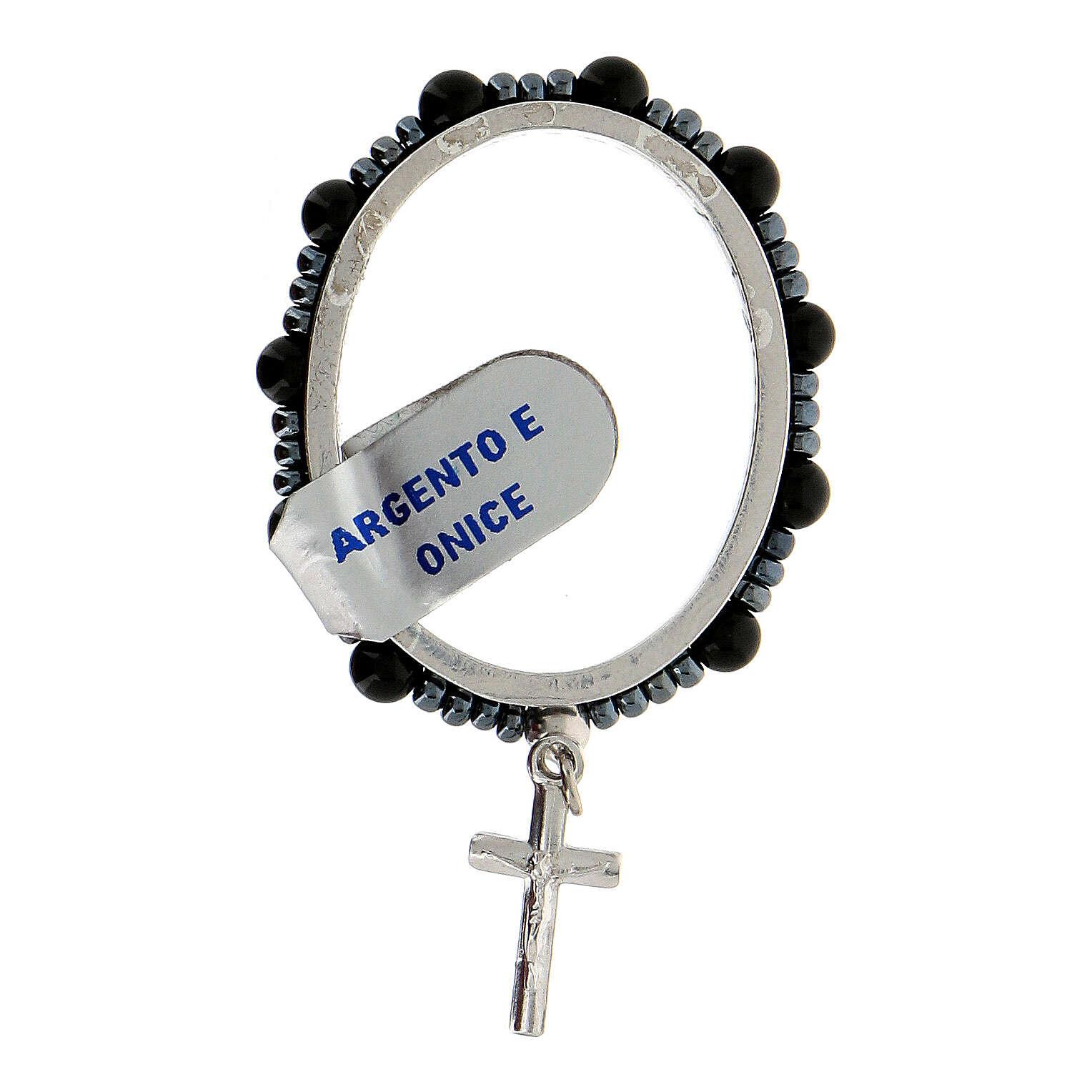 Anillo plata 925 granos ónix 4 mm rosario decena 4