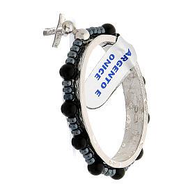 Anillo plata 925 granos ónix 4 mm rosario decena s4