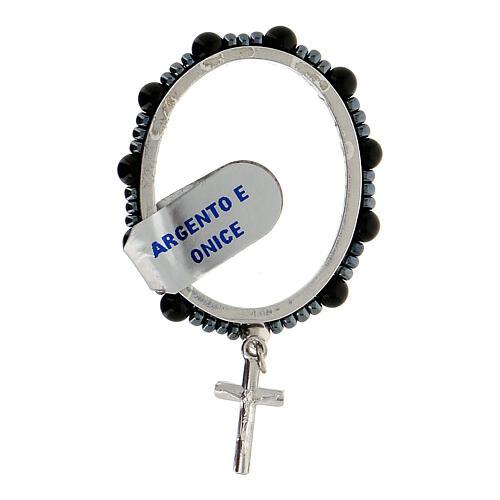Anillo plata 925 granos ónix 4 mm rosario decena 1