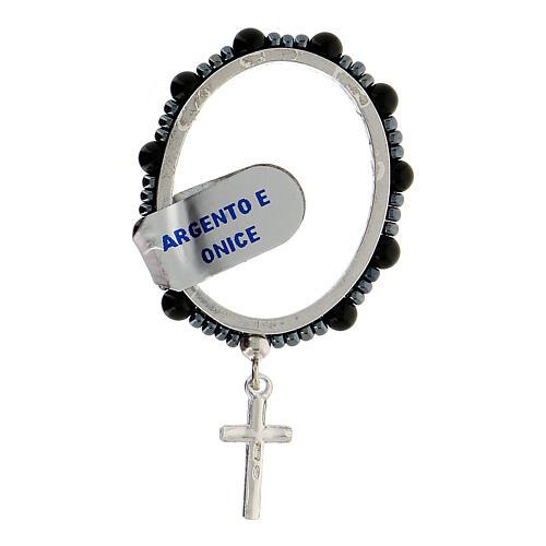 Anillo plata 925 granos ónix 4 mm rosario decena 2
