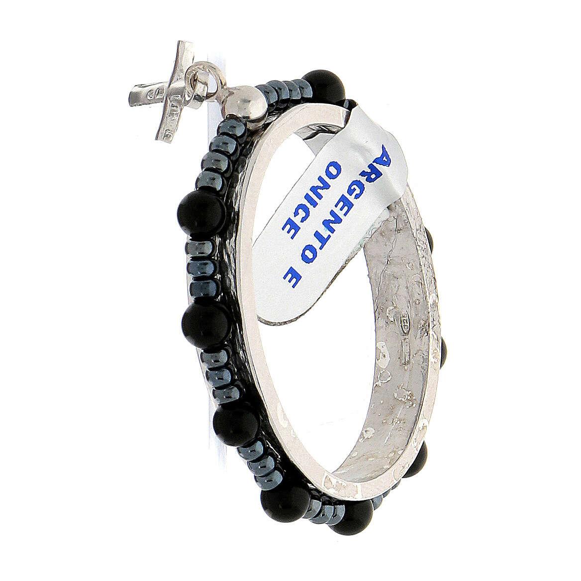 Preghierino argento 925 grani onice 4 mm rosario decina 4