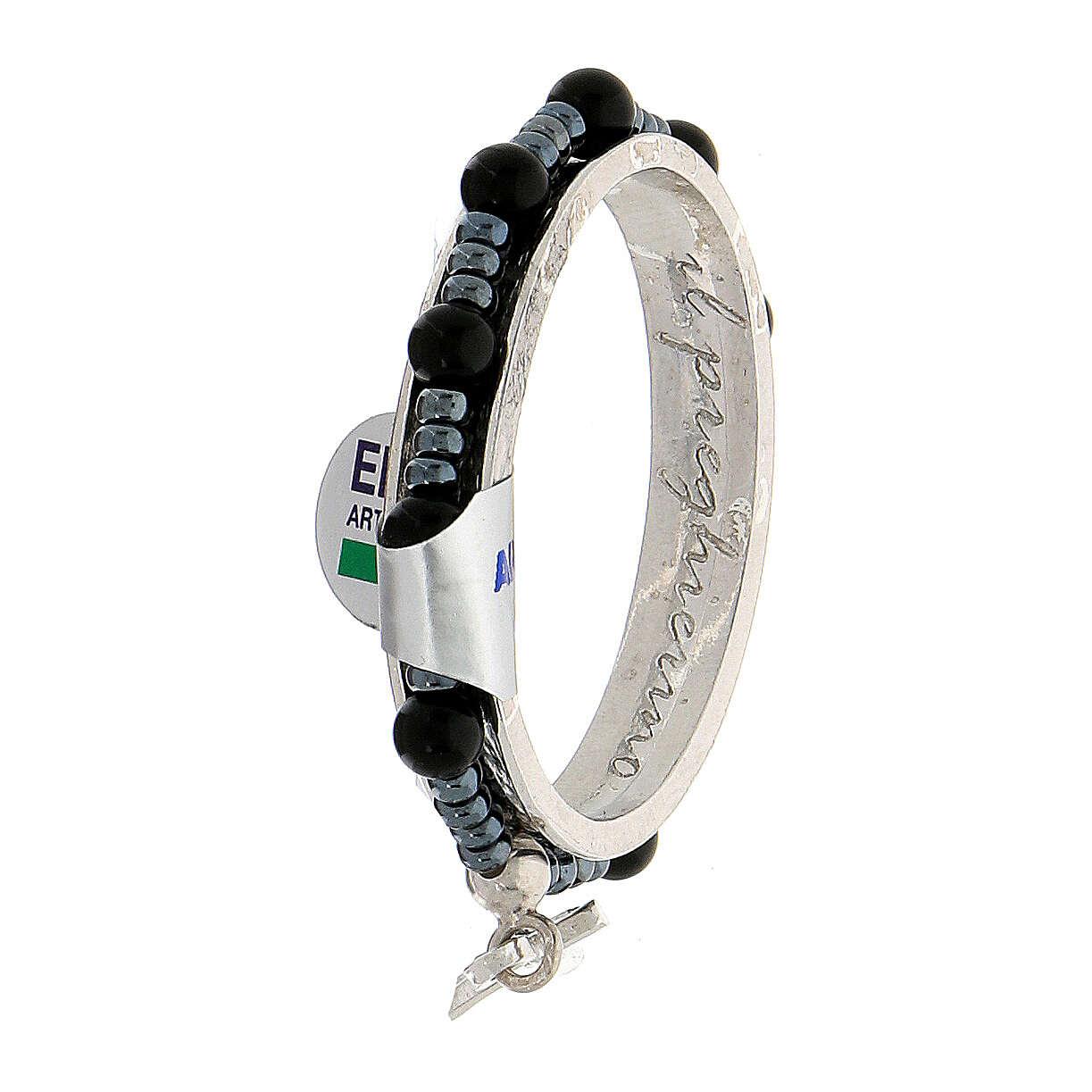 Dezena terço giratória prata 925 contas de ónix 4 mm 4