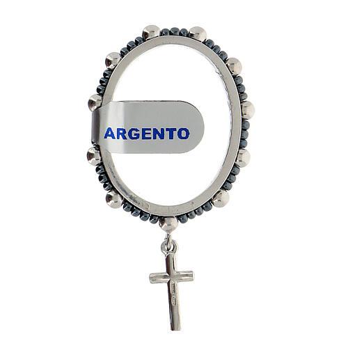 Ring aus 925er Silber mit Gebet und kleinen Perlen, 4 mm
