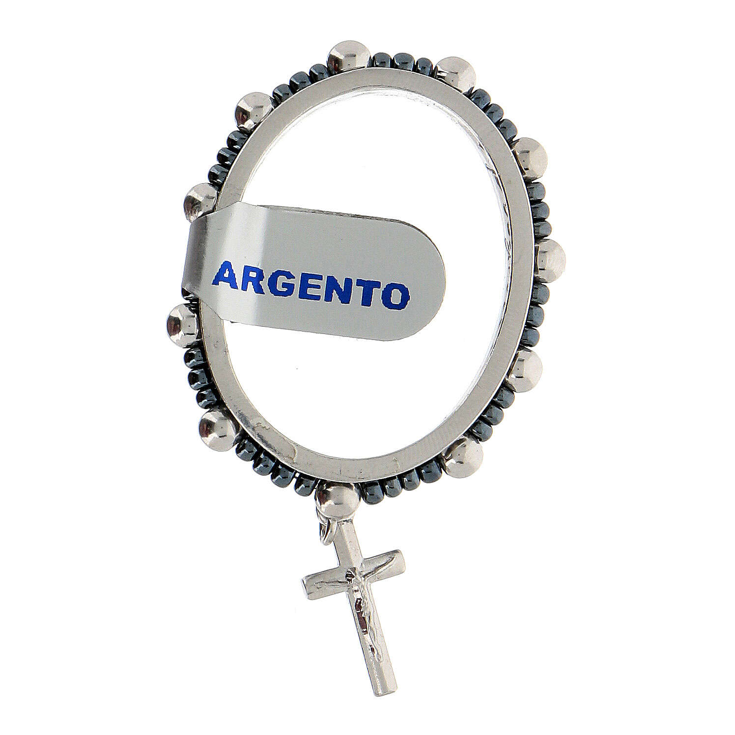 Anillo granos plata 925 4 mm rosario decena giratorio 4