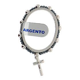 Anillo granos plata 925 4 mm rosario decena giratorio s1
