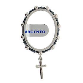 Anillo granos plata 925 4 mm rosario decena giratorio s2