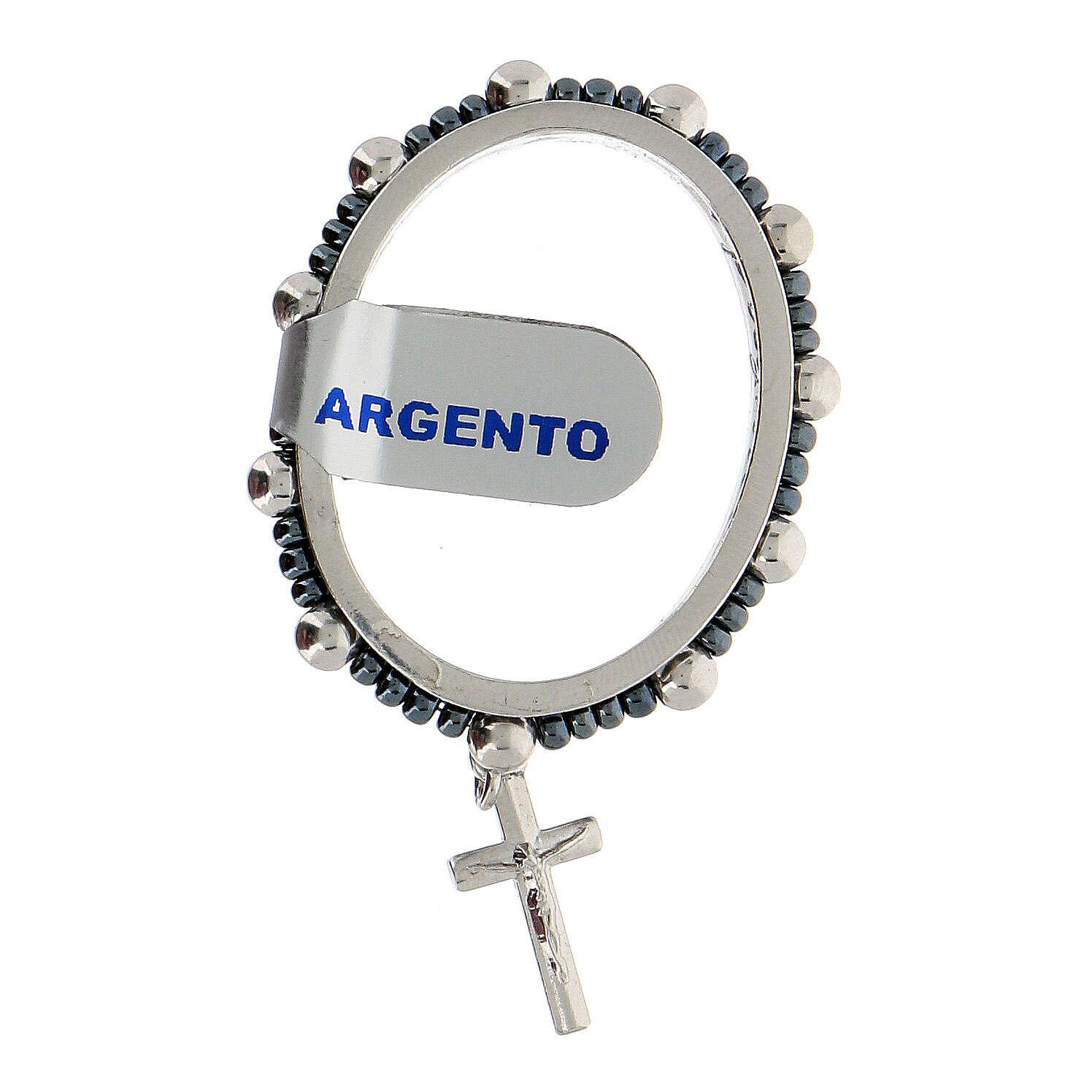 Preghierino grani argento 925 4 mm rosario decina girevole 4