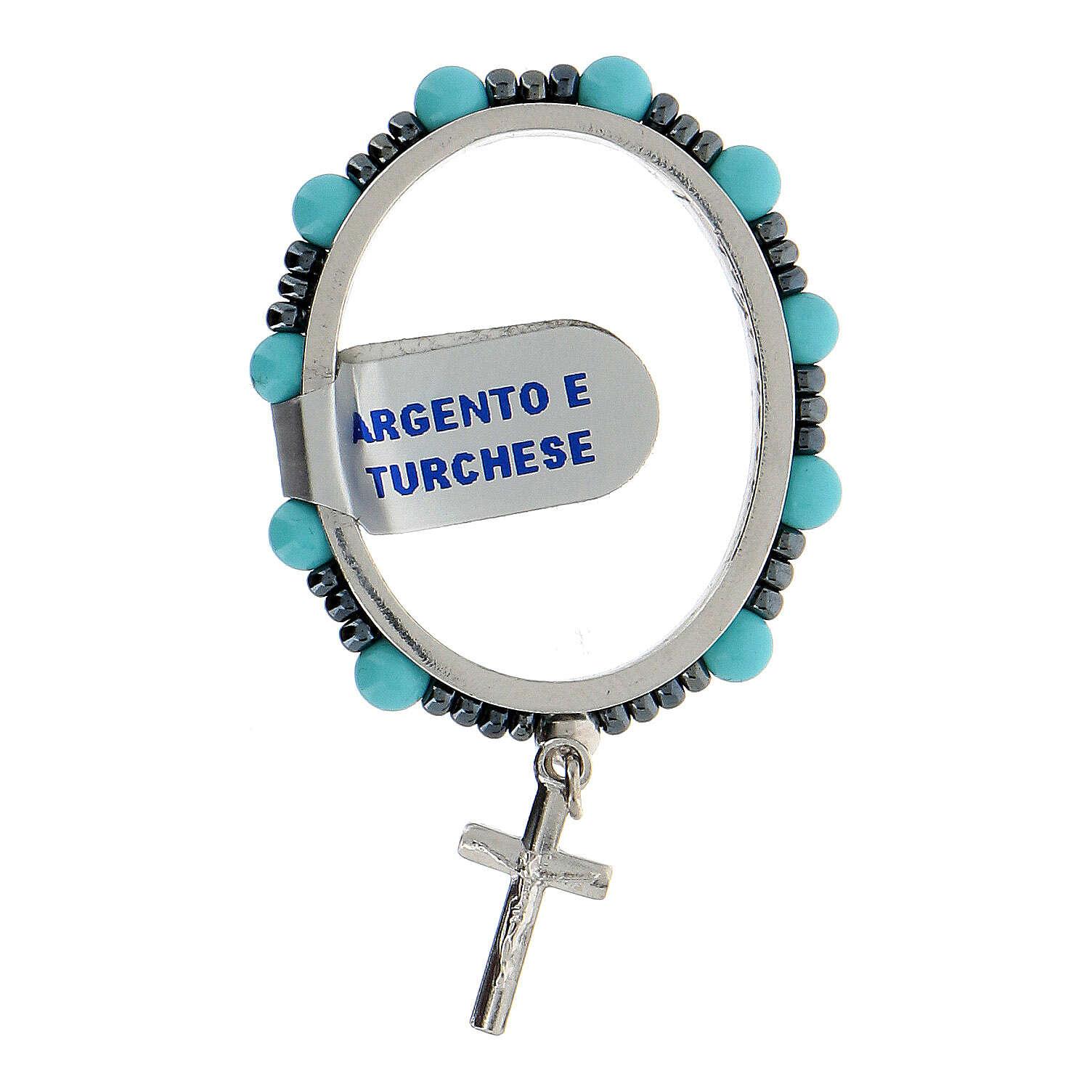 Chapelet pivotant dizainier argent 925 grains turquoise 4 mm 4
