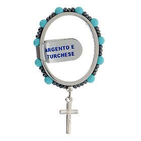 Preghierino argento 925 turchese 4 mm rosario decina girevole s2