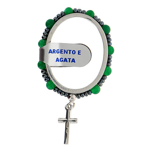 Ring aus 925er Silber mit Gebet und kleinen Perlen aus Achat, 4 mm