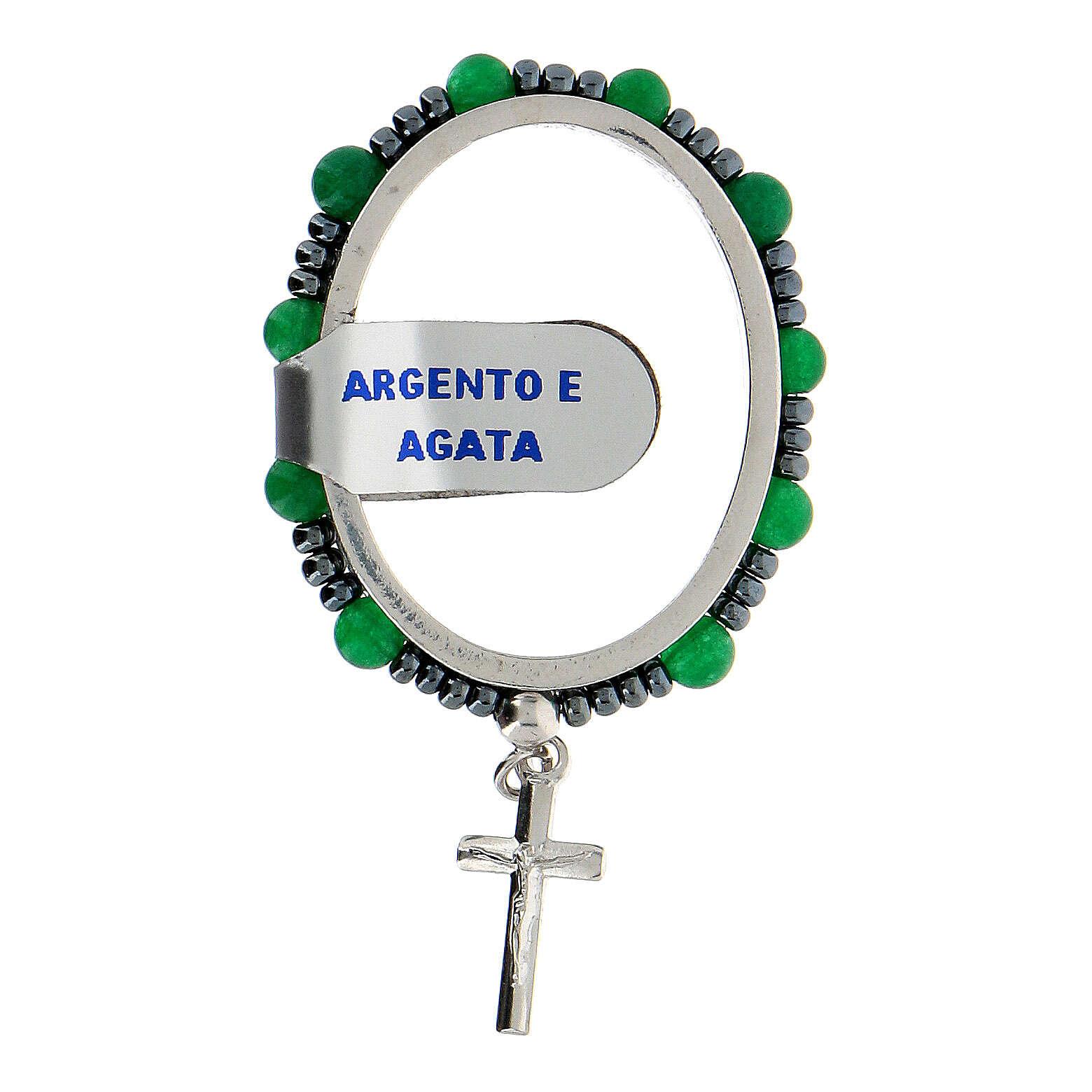 Preghierino grani agata 4 mm argento 925 croce pendente 4