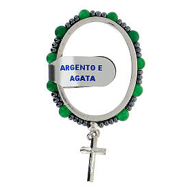 Preghierino grani agata 4 mm argento 925 croce pendente s1