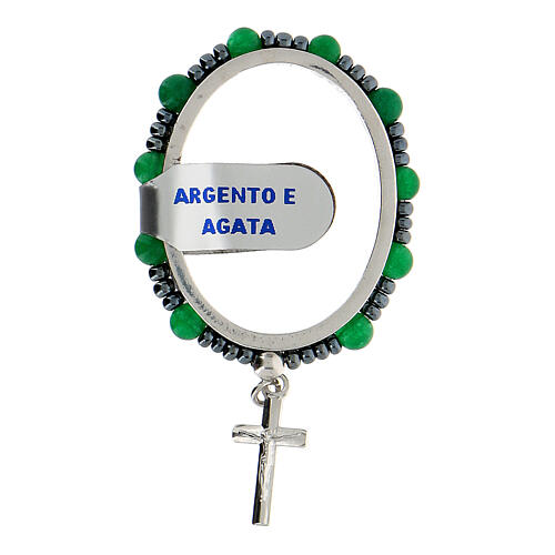 Preghierino grani agata 4 mm argento 925 croce pendente 1