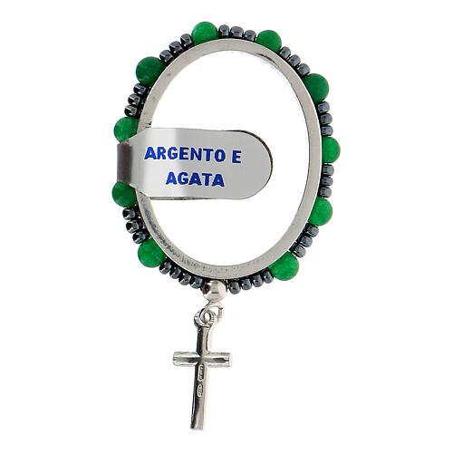 Preghierino grani agata 4 mm argento 925 croce pendente 2